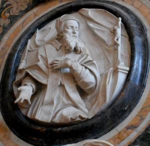 Pope Pius V on marble tondo